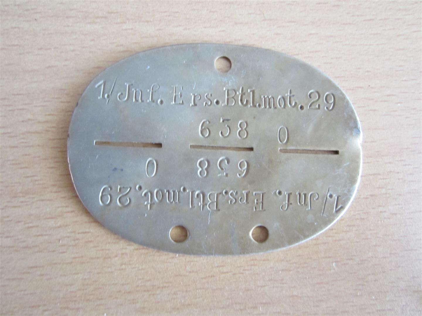 WW2 WH Motorised Infantry Dog Tag